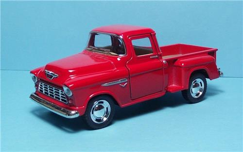 "1955 Chevy Stepside P/up-5"" Die Cast Metal w/Pull Back Power & Opening Drs-Red"