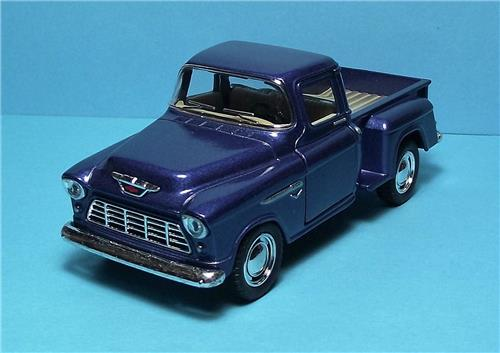 "1955 Chevy Stepside P/up-5"" Die Cast Metal w/Pull Back Power & Opening Drs-Blue"