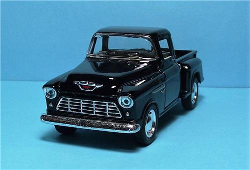 "1955 Chevy Stepside P/up-5"" Die Cast Metal w/Pull Back Power & Opening Drs-Black"