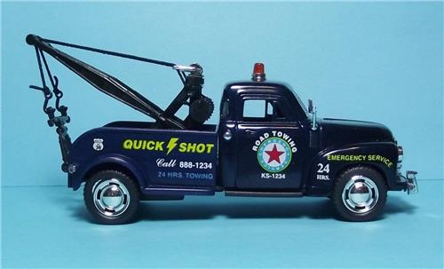 "1953 Chevy 3100 Wrecker-5"" Die Cast Metal w/Pull Back Power & Opening Drs-Blue"