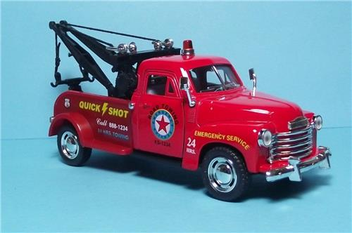 "1953 Chevy 3100 Wrecker-5"" Die Cast Metal w/Pull Back Power & Opening Drs-Red"