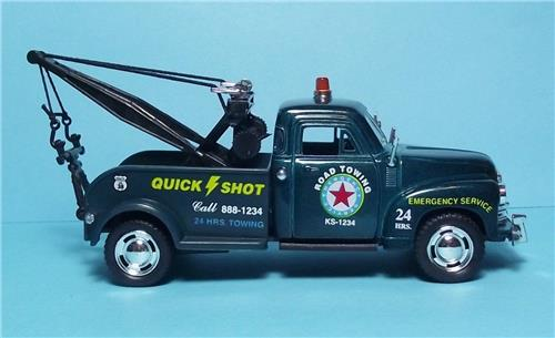 "1953 Chevy 3100 Wrecker-5"" Die Cast Metal w/Pull Back Power & Opening Drs-Green"