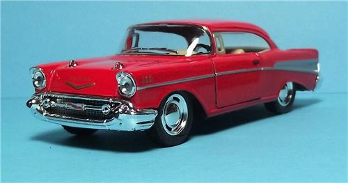 "1957 Chevy Bel Air-5"" Die Cast Metal w/Pull Back Power & Opening Drs-Red"