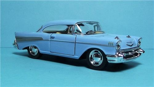"1957 Chevy Bel Air-5"" Die Cast Metal w/Pull Back Power & Opening Drs-Light Blue"
