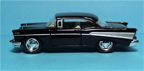 "1957 Chevy Bel Air-5"" Die Cast Metal w/Pull Back Power & Opening Drs-Black"