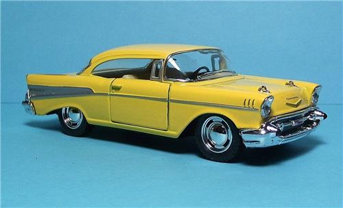 "1957 Chevy Bel Air-5"" Die Cast Metal w/Pull Back Power & Opening Drs-Yellow"