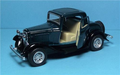 "1932 Ford 3 Window Coupe-5"" Die Cast Metal w/Pull Back Power & Opening Drs-Green"