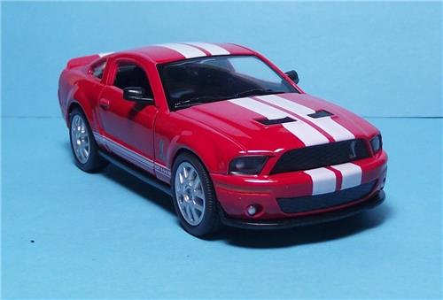 "2007 Ford Shelby GT 500-5"" Die Cast Metal w/Pull Back Power & Opening Drs-Red"