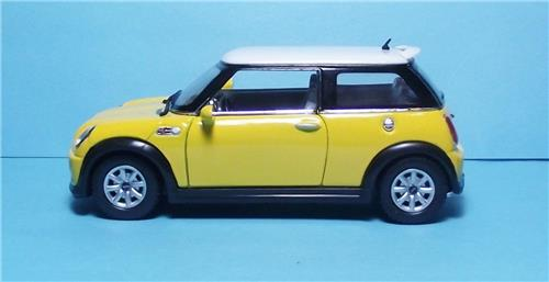 """2012 Mini Cooper S-5"""" Die Cast Metal w/Pull Back Power & Opening Drs-Yellow"""