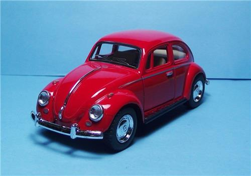 "1967 Volkswagen Classic Beetle-5"" Die Cast w/Pull Back Power & Opening Drs-Red"