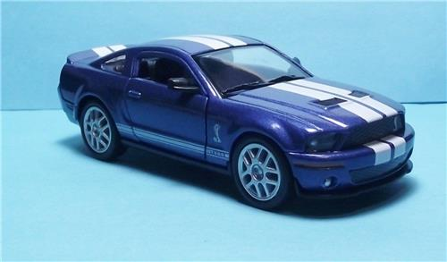 "2007 Ford Shelby GT 500-5"" Die Cast Metal w/Pull Back Power & Opening Drs-Blue"