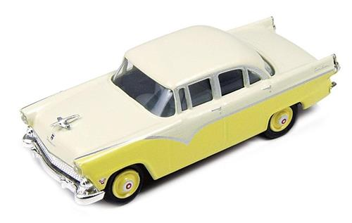 HO Scale-Classic Metal Works-30399-1955 Ford Fairlane Town Sedan-Yellow & White
