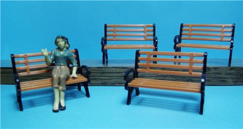 G Scale-Model Railroad Scenery-1:24 Scale-Burnt Orange & Black Small Park Benches-4 Pcs Total