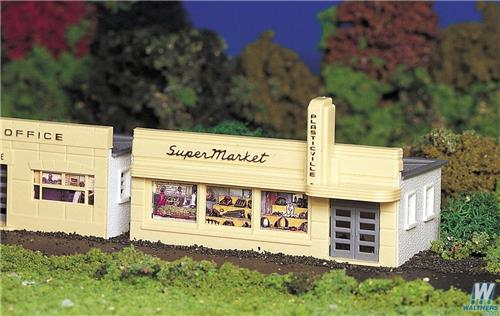 HO Gauge-Bachmann-45141-Model Railroad Building Kit-Plasticville Supermarket