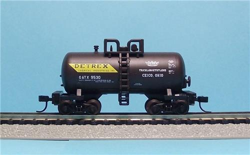 "N Gauge-Atlas ""Trainman""-31426-Detrex Chemical Industries-Beer Can Tank Car-9530"