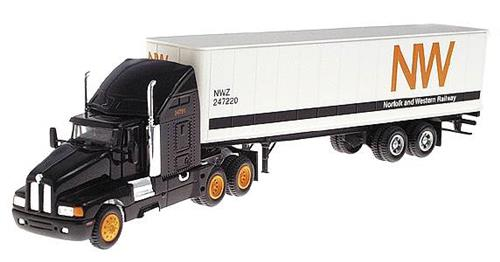 HO Gauge-Model Power-18004-Norfolk & Western LH Tractor W/Sleeper & Std. Box Trailer