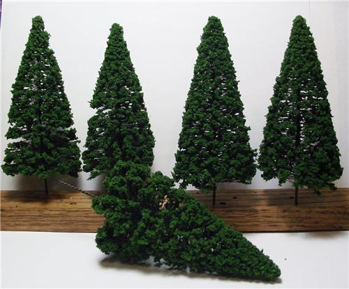 "Multi Scale Use-Authentic Scenery-5 Pc Set-6"" Dark Green Detailed Pine Trees"