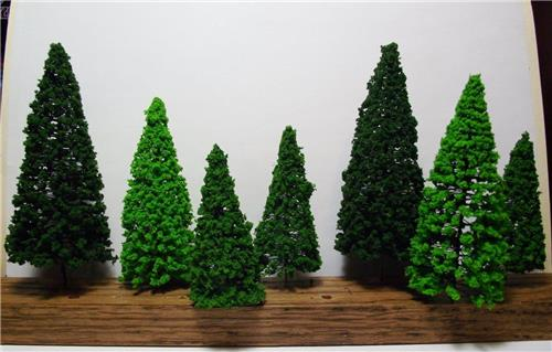 Multi Scale Use-Authentic Scenery-14 Pc Set-Detailed Pine Trees-3 Colors-3 Sizes