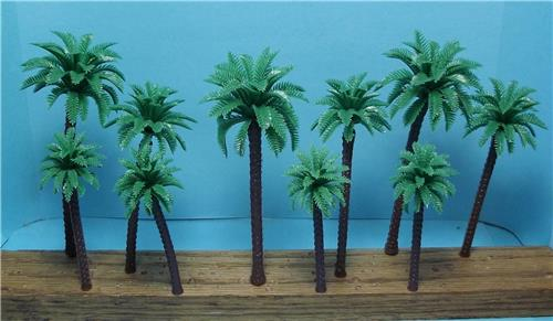 "Multi Gauge-Set of Taller Model Coconut Palm Trees-3 1/2"" to 4 3/4""-10 pcs Total"