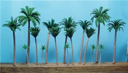 "Multi Gauge Use-Tan Trunk Model Coconut Palm Trees-2"" to 5""-16 pcs Total"