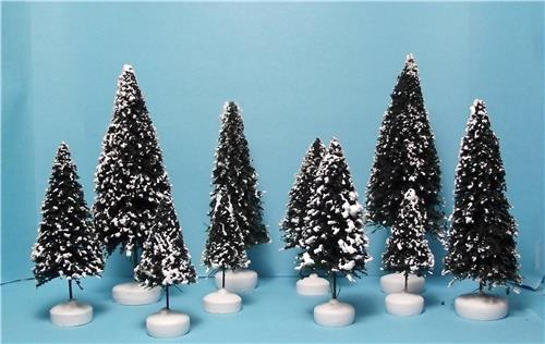 10 Snow Covered Pine Trees w/Bases-Suitable for Lemax, Lefton, Dept.56-4 Sizes