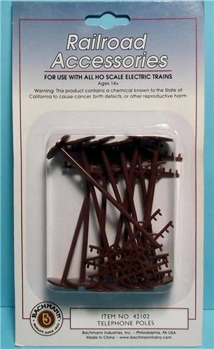 HO Gauge-Bachmann-42102-Railroad Accessories-12 Telephone Poles