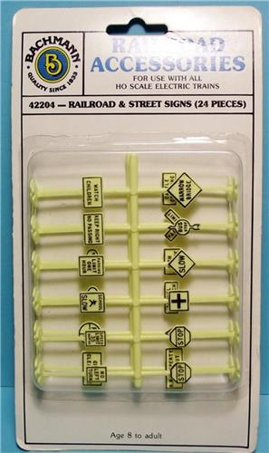 HO Gauge-Bachmann-42204-Railroad Accessories-24 Pc. Railroad & Street Sign Set