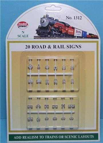 N Gauge Model Power-1312-Assorted Road & Railroad Signs-20 Styles-24 Pieces