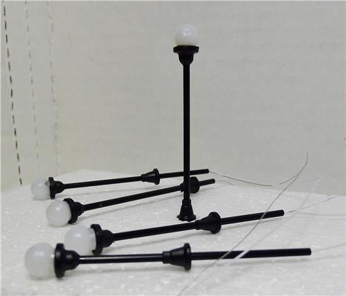 HO Gauge Railroad Lighting-Single Globe Street Lighting Set W/Diagram-8 Pcs. 16V 1R2