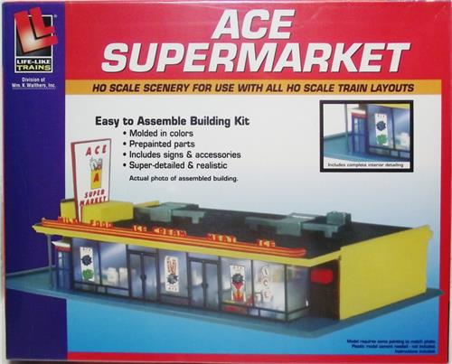 HO Gauge-Life Like-433-1330-Model Railroad Building Kits-Ace Supermarket Kit