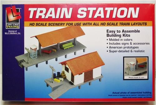 HO Gauge-Life Like-433-1347-Model Railroad Building Kits-Train Station Kit