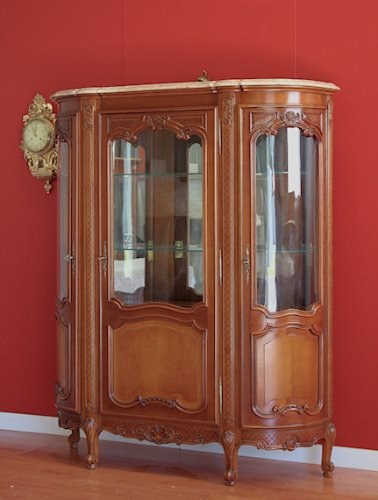 Antique Vintage French Louis XV China Cabinet Vitrine Walnut ...