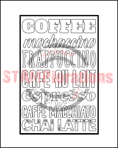 Framed Coffee Word Art Outline Stamplorations