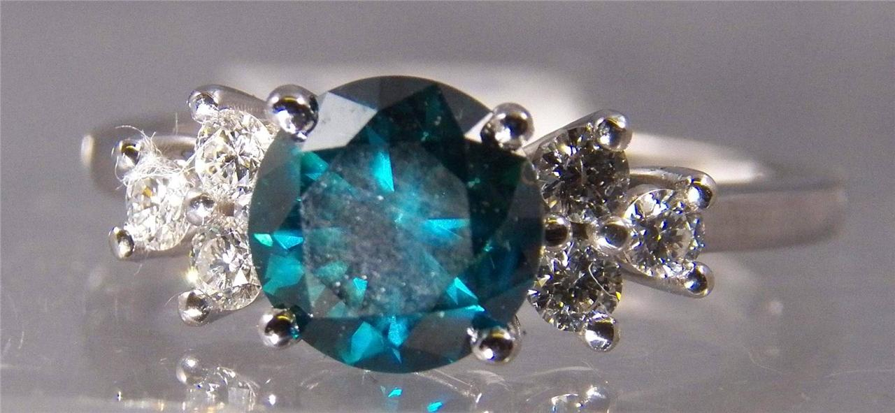 1.52 CT ROUND FANCY BLUE/GREEN SI DIAMOND SOLITAIRE, 0.3 CT FULL CUT DIAMOND ACC