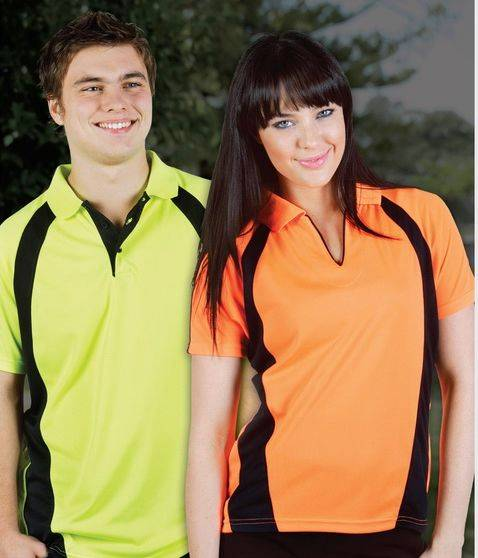 Hi Vis Mens & Ladies Fluro Safety Coolfast Waffle Knit Short Sleeve Polo 8-18, XS-5XL Blue Whale P88