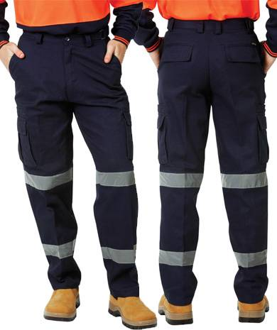 *SALE* Cotton Drill Heavy Duty Day Night Cargo Reflective Taped Pants Navy 77R-122R,87S-122S BlueWha