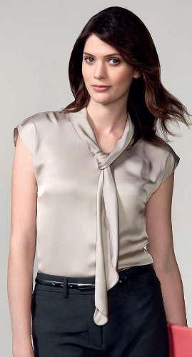 b8c9597f7a303 Shimmer Luxury Satin Fashionable Blouse Tie Neck Sleeveless 5 Colors 6-24  Biz Collect