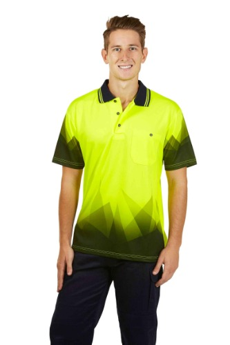 P65-Fluoro-Yellow hi vis polo cheap, budget, wholesale, discount, sale, clearance 1