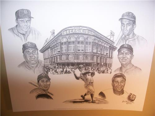 Ebbets Field and the Greatest Brooklyn Dodgers Lithograph by Robert Simon
