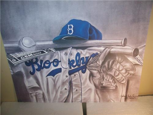 Brooklyn Dodgers Uniform, Cap, Bat, & Glove Lithograph by Robert Simon
