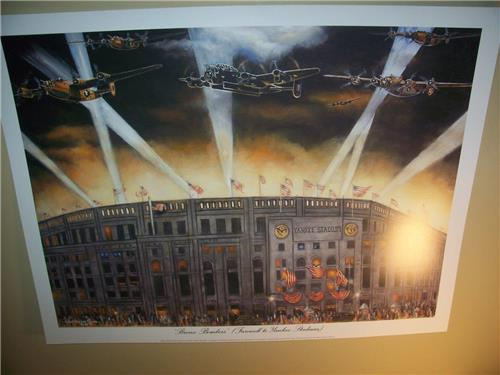New York Yankee Stadium Bronx Bombers Lithograph by Robert Simon