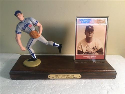 Don Drysdale Los Angeles Dodgers 1989 Starting Lineup Figure Custom Wood Plaque