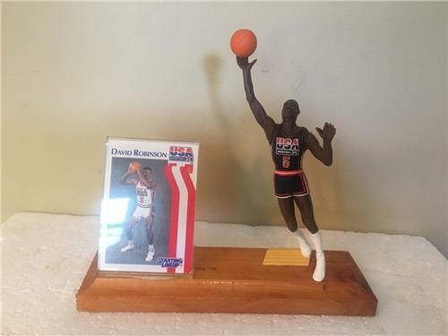 David Robinson Olympic Starting Lineup Figure Wooden Plaque &Acrylic Card Holder