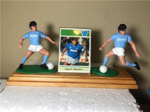 Diego Maradona 2 Starting Lineup Dual Wood Display with Acrylic Card Holder