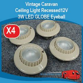 Ceiling Light Recessed 12V 3W LED GLOBE Eyeball switched BEIGE VCS4500 E0164
