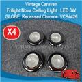 ( 4X ) Ceiling Light   LED 3W GLOBE  Recessed Chrome  Frilight Nova  VCS4426 E0166
