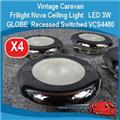 ( 4X ) Nova Ceiling Light    LED 3W GLOBE   Recessed Chrome Switched VCS4480 E0167