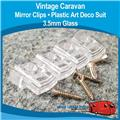 MIRROR CLIPS Plastic Art Deco  CLEAR  (  4 PACK ) 3.5mm Glass H0181