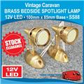 Caravan 12V LED  BRASS  BEDSIDE SPOTLIGHT LAMP  100x85mm Base SS88 CLEARANCE