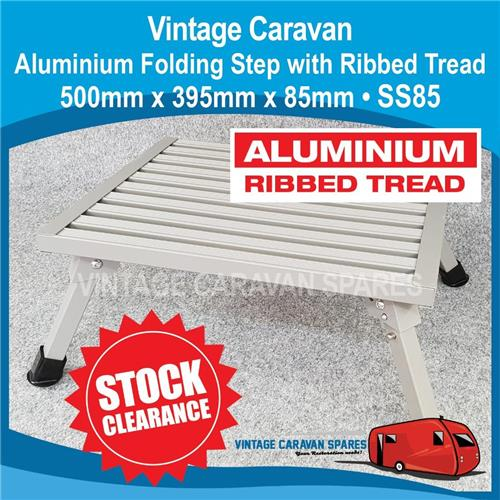 Caravan Aluminium Folding Step  Ribbed Tread 500x 395 x 85 CLEARANCE SS85